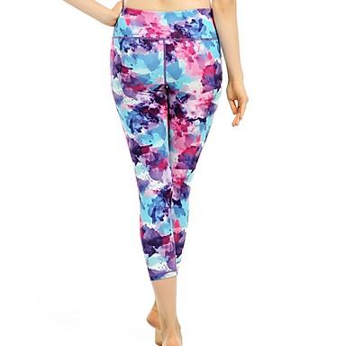 Kadın's Yoga Pantolonları Spor Dalları Zıt Renkli 3/4 Tayt Alt Giyimler Fitness Aktif Giyim Nefes Alabilir Hızlı Kuruma Pochłanianie potu Popo Kaldırma Streç Dar