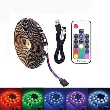 abordables Bandes Lumineuses LED-led tv rétro-éclairage 5m 150 usb led bande de lumière ip65 étanche rf 17 touches télécommande 16 couleurs RVB changer pour 40 à 60 pouces tv rétro-éclairage
