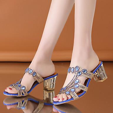 Kadın's Sandaletler Kalın Topuk Burnu Açık PU Klasik Yürüyüş Yaz Siyah / Yeşil / Navy Mavi