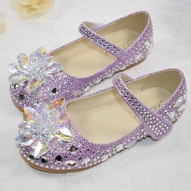 hesapli Kız Çocuk Ayakkabıları-Genç Kız Sentetikler Düz Ayakkabılar Küçük Çocuklar (4-7ys) / Büyük Çocuklar (7 yaş +) Rahat / Çiçekçi Kız Ayakkabıları Kristal Gümüş / Mor / Pembe Bahar / Sonbahar