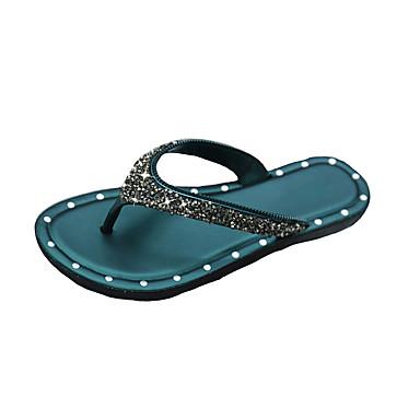 voordelige Damespantoffels & slippers-Dames Slippers & Flip-Flops Platte hak Open teen Sprankelend glitter PVC Informeel Zomer Zwart / Donkergroen