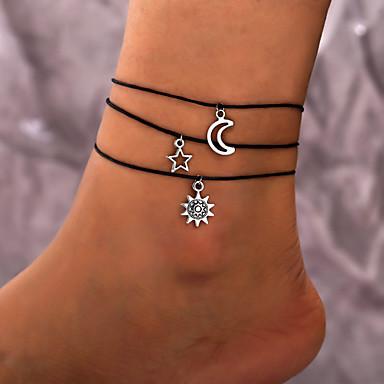 Kadın's Ayak bileği bilezik Güneş MOON Ayak bileziği Mücevher Siyah Uyumluluk Hediye Günlük