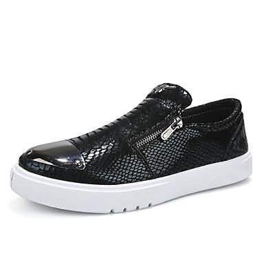 Erkek Ayakkabı PU İlkbahar yaz Günlük Mokasen & Bağcıksız Ayakkabılar Günlük / Ofis ve Kariyer için Siyah / Gümüş