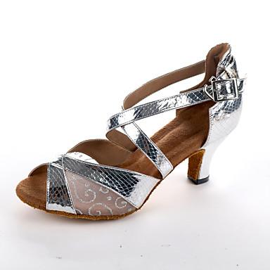 Kadın's PU Latin Dans Ayakkabıları Topuklular Küba Topuk Kişiselleştirilmiş Siyah / Gümüş / Gri