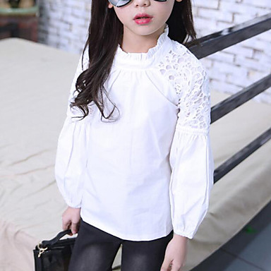baratos Blusas para Meninas-Infantil Para Meninas Activo Moda de Rua Sólido Retalhos Frufru Patchwork Manga Longa Camisa Branco