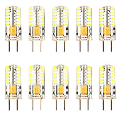 billige Elpærer-10pcs 3 W LED-kornpærer LED-lamper med G-sokkel 300 lm GY6.35 T 48 LED perler SMD 3014 Mulighet for demping Nytt Design Varm hvit Hvit 12-24 V