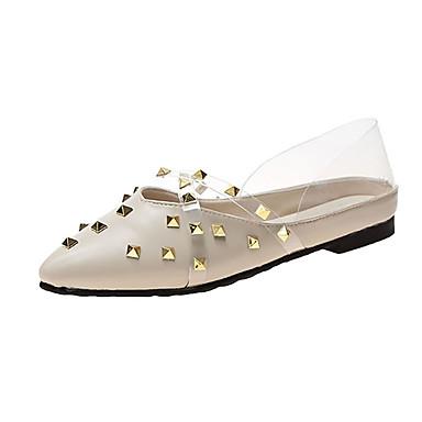 Kadın's Mokasen & Bağcıksız Ayakkabılar Düz Taban Perçin PU Günlük Yaz Yeşil / Badem