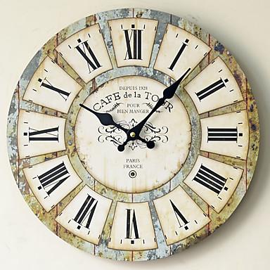 Недорогие Настенные часы-Современный современный Мода деревянный Круглый В помещении