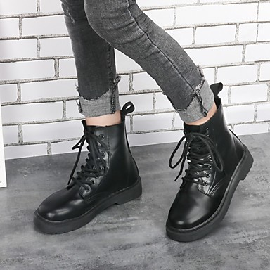 voordelige Dameslaarzen-Dames Laarzen Platte hak Ronde Teen Rubber / PU Kuitlaarzen Brits Lente zomer / Herfst winter Zwart