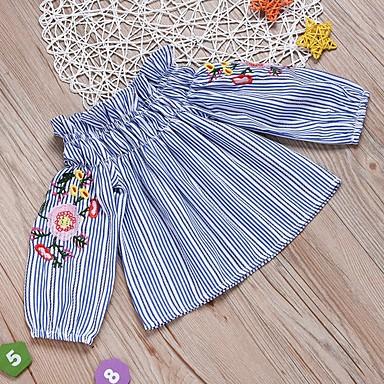 baratos Blusas para Meninas-Infantil Para Meninas Básico Listrado Manga Longa Algodão Camisa Azul Claro