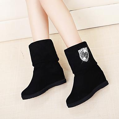 voordelige Dameslaarzen-Dames Laarzen Verborgen hiel Ronde Teen Elastische stof Kuitlaarzen Lente / Herfst winter Zwart / Donker Bruin