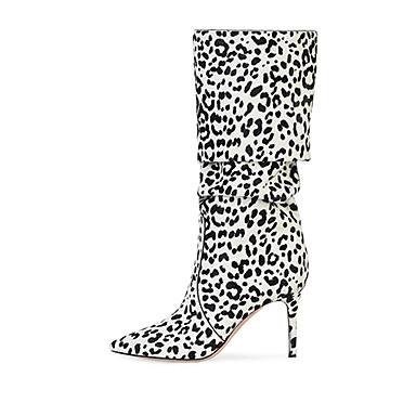 voordelige Dameslaarzen-Dames Laarzen Naaldhak Gepuntte Teen Suède Knielaarzen Brits / minimalisme Lente & Herfst / Winter Wit / Roze / Bruin / Feesten & Uitgaan / Luipaard