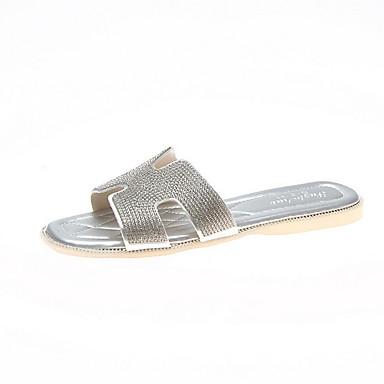 voordelige Damespantoffels & slippers-Dames Slippers & Flip-Flops Platte hak Vierkante Teen PU Zomer Groen / Goud / Zilver