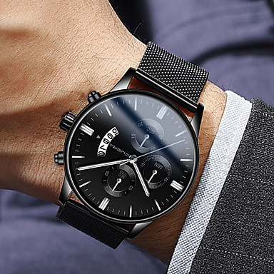 cheap New Arrivals-Men's Dress Watch Quartz Modern Style Stylish Stainless Steel Black 30 m Water Resistant / Waterproof Calendar / date / day Casual Watch Analog Luxury Fashion - Black Rose Gold Blue One Year Battery