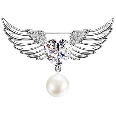 Kadın's Kübik Zirconia Broşlar Şık Basit Vintage Tatlı Moda İnci Broş Mücevher Gümüş Uyumluluk Parti Hediye Cadde Tatil Festival