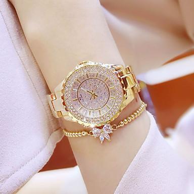baratos Relógios de Luxo Senhora-Mulheres Relógios Luxuosos Relógio Casual Bracele Relógio Quartzo Aço Inoxidável Prata / Dourada Impermeável Criativo Luminoso Analógico senhoras Amuleto Luxo Casual Rígida - Dourado Prata Um ano