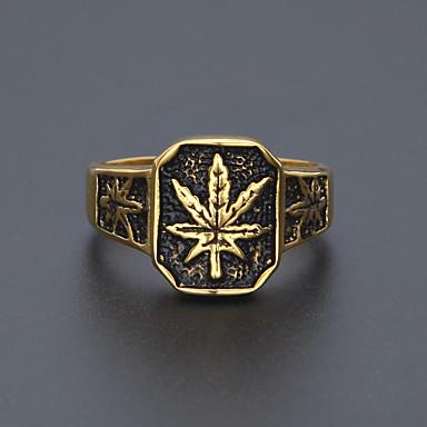 voordelige Herensieraden-Heren Bandring Statement Ring Ring 1pc Goud Koper Legering Stijlvol Eenvoudig Europees Werk Sieraden Sculptuur Bladvorm