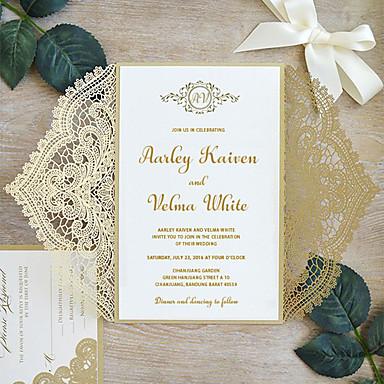 """رخيصةأون دعوات الزفاف-بطاقة مسطح دعوات الزفاف عدد 30 من القطع - بطاقات الدعوة / بطاقات الشكر / بطاقات استجابة نمط فني / نمط العروس&العريس / الأزهار ستايل ورقة نقية 5 """"× 7 ¼"""" (12.7 * 18.4cm) Satin Bow"""