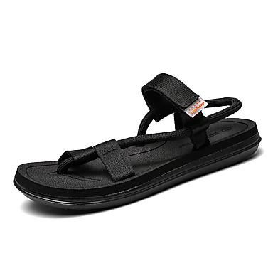 baratos Super Ofertas-Homens Sapatos Confortáveis Tecido elástico Primavera Verão Vintage Sandálias Respirável Preto / Marron / Cinzento
