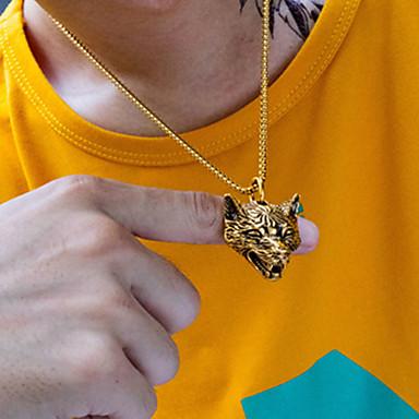 voordelige Herensieraden-Heren Hangertjes ketting Gegraveerd Wolf Statement Modern Titanium Staal Goud Zilver 55 cm Kettingen Sieraden 1pc Voor Lahja School Straat Club Belofte