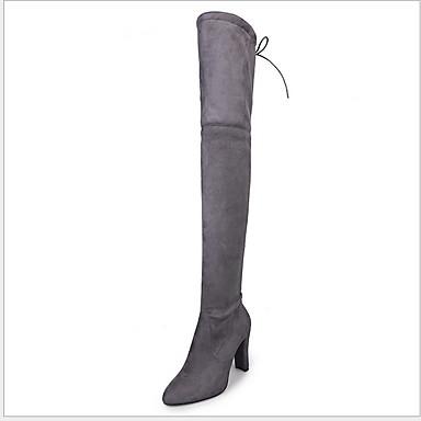 povoljno Ženske čizme-Žene Čizme Blok pete Krakova Toe Brušena koža Čizme preko koljena Zima Crn / Lila-roza / Sive boje