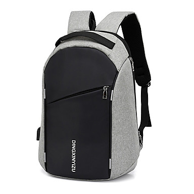 cheap Men's Bags-Large Capacity Polyester Zipper Commuter Backpack Solid Color Daily Black / Gray / Men's / Fall & Winter