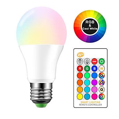 billige Elpærer-1pc 10 W LED-globepærer 980 lm E26 / E27 A60(A19) 1 LED perler Høyeffekts-LED Fjernstyrt RGBW 85-265 V