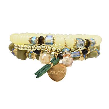 abordables Bracelet-4pcs Bracelet à Perles Femme Logo Colis Décontracté / Sport Bracelet Bijoux Noir Blanche Orange pour Quotidien