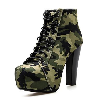 voordelige Dameslaarzen-Dames Laarzen Blokhak Denim Korte laarsjes / Enkellaarsjes Brits / minimalisme Lente & Herfst / Herfst winter Groen / Camouflage Kleur