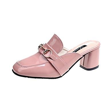 voordelige Damespantoffels & slippers-Dames Slippers & Flip-Flops Blokhak PU Informeel Zomer Zwart / Roze