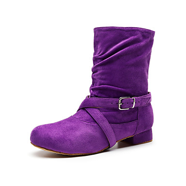 baratos Shall We® Sapatos de Dança-Para Meninas Sintéticos Botas de Dança Presilha Salto Sem Salto Personalizável Preto / Roxo / Vermelho
