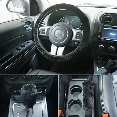 voordelige Auto-interieur accessoires-universeel stuurwiel pluche auto stuurwielen handremhoezen versnellingshoezen set