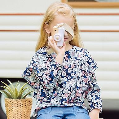 hesapli Kız Çocuk Üstleri-Çocuklar Genç Kız Temel Çiçekli Uzun Kollu Bluz Navy Mavi