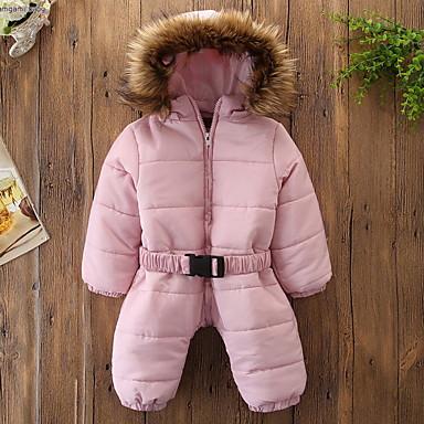 billige Ytterklær til baby-Baby Jente Grunnleggende Ensfarget Lang Dun- og bomullsfôret Rosa