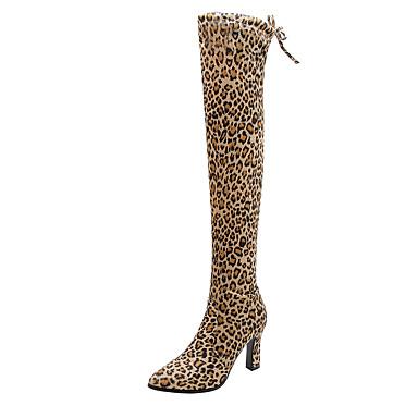 povoljno Ženske čizme-Žene Čizme Kockasta potpetica Krakova Toe Brušena koža Čizme preko koljena Klasik / minimalizam Jesen zima Crn / Lila-roza / Leopard