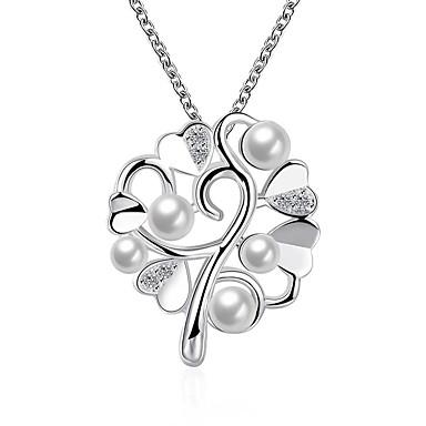 billige Mote Halskjede-Dame Perle Anheng Halskjede geometriske Blomst Mote Chrome Sølv 45+5 cm Halskjeder Smykker 1pc Til Daglig Ferie