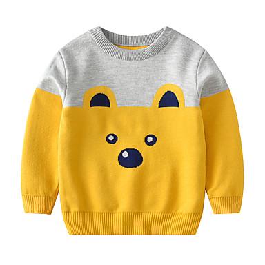 baratos Suéteres & Cardigans para Meninos-Infantil Bébé Para Meninos Activo Básico Panda Geométrica Estampado Estampa Colorida Estampado Manga Longa Suéter & Cardigan Amarelo