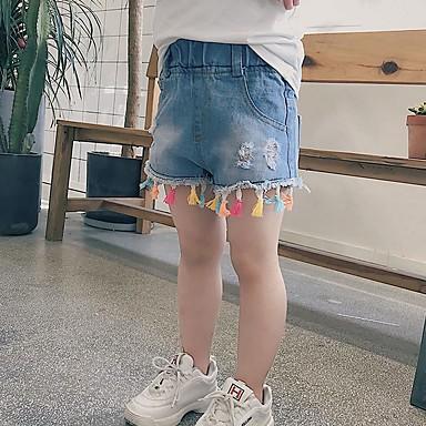 baratos Jeans para Meninas-Infantil Para Meninas Sólido Franjas Algodão Jeans Azul