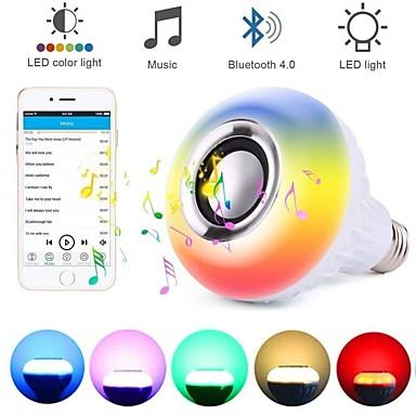 billige LED smartpærer-loende smart e27 rgb trådløs Bluetooth høyttalerpære 12w musikk spiller av dimbar lyd med 24 taster fjernkontroll