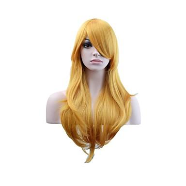 povoljno Perike i ekstenzije-Sintetičke perike Tijelo Wave Stil Stepenasta frizura Capless Perika Zlatna Zlatni Plava Sintentička kosa 24 inch Žene Modni dizajn Žene Zlatna Perika Dug