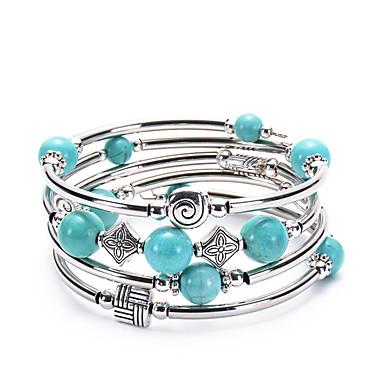 voordelige Dames Sieraden-Dames Wikkelarmbanden stack Bloem Folk Style Legering Armband sieraden Blauw Voor Dagelijks