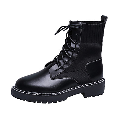 voordelige Dameslaarzen-Dames Laarzen Platte hak Ronde Teen PU Korte laarsjes / Enkellaarsjes Informeel / Studentikoos Herfst winter Zwart