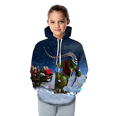 billige Hettegensere og gensere til jenter-Barn Baby Jente Aktiv Grunnleggende julenissen Fantastiske dyr Geometrisk Galakse Fargeblokk Trykt mønster Langermet Hettegenser og sweatshirt Blå