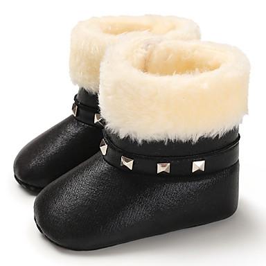 baratos Sapatos de Criança-Para Meninas Couro Ecológico Botas Crianças (0-9m) / Criança (9m-4ys) Primeiros Passos Preto / Prata / Fúcsia Inverno
