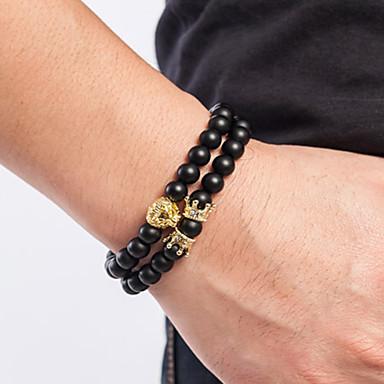 abordables Bracelet-2pcs Bracelet à Perles Bracelets Vintage Boucles d'oreilles / Bracelet Homme Tressé En bois Tissage simple Classique Rétro Vintage Ethnique Mode Bracelet Bijoux Noir Dorée Rose Dorée pour Quotidien