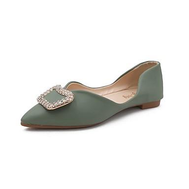 Kadın's Mokasen & Bağcıksız Ayakkabılar Düz Taban Taşlı PU Günlük Yaz Siyah / Yeşil / Badem