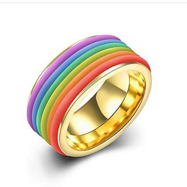 voordelige Herensieraden-Heren Ring 1pc Regenboog Titanium Staal Verguld Rond Stijlvol Lahja Dagelijks Sieraden Klassiek Regenboog Cool