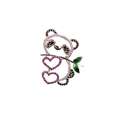 Kadın's Broşlar Fantezi Panda Lüks Karikatür Zarif Renkli Altın Kaplama Simüle Elmas Broş Mücevher Altın Uyumluluk Düğün Nişan Hediye Çalışma Söz vermek