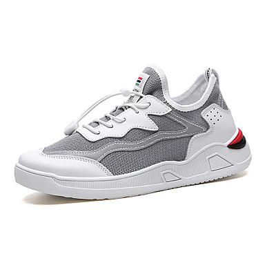 Erkek Ayakkabı PU Yaz Spor Ayakkabısı Dış mekan için Siyah / Beyaz / Gri