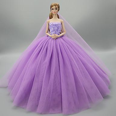 voordelige Poppenaccessoires-Poppenjurk Feest / Avond Bruiloft Voor Barbie Effen Kleur Paars Blauw Roze Satijn / tule Polyesteri 1 X Doll-kleding Voor voor meisjes Speelgoedpop